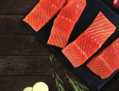 FRESH RAISED WITHOUT ANTIBIOTICS SALMON PORTIONS