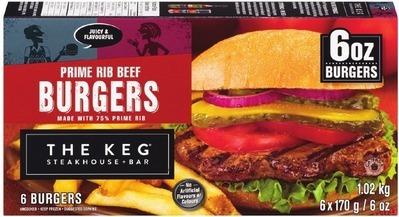 THE KEG PRIME RIB BEEF BURGERS